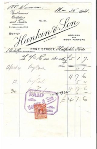 Receipt found by a stamp collector while going through some old papers.
